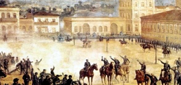 Obra que retrata a Proclamação da República.
