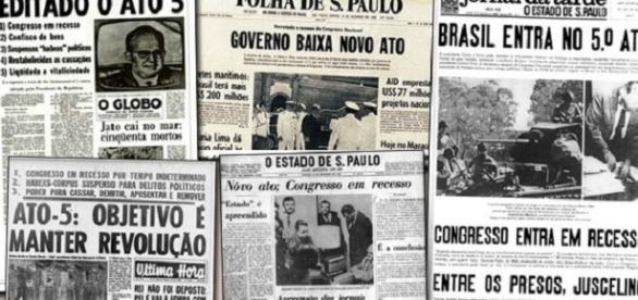 Jornais do período anunciando o endurecimento do regime (Foto: Reprodução)