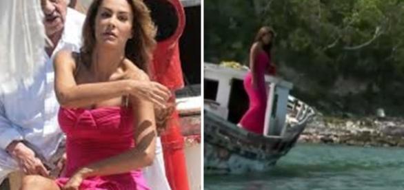 A vilã se joga no mar (Foto: Reprodução/ Televisa).