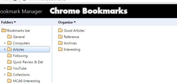 Chrome Bookmarks: Screen shot of the classic folder interface with modified header bar (Author)
