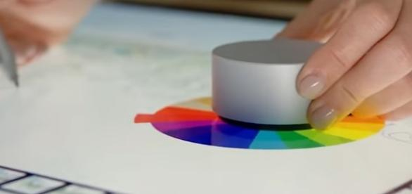 """Screen capture from Microsoft's demo video, demonstrating the """"Surface Dial usage"""" (YouTube/Surface)."""