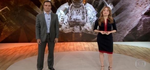 Foto dos apresentadores do Fantástico, Tadeu Schmidt e Poliana Abritta