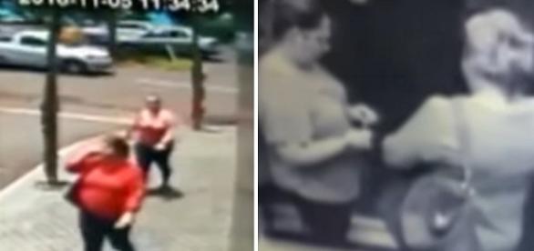 Na imagem as duas mulheres saem do prédio levando na bolsa uma quantia enorme em jóias.