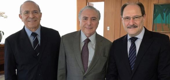 Eliseu Padilha (Ministro-chefe da Casa Civil), presidente Michel Temer e o governador Sartori