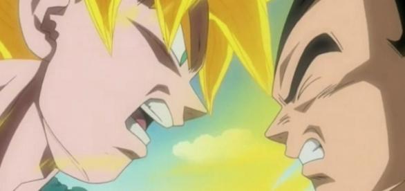 Goku versus Vegeta, peleando por comida.