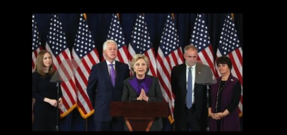 Hillary concedes, but she and entourage dress like they're attending a funeral! Photo: YouTube Screen shot Fox News