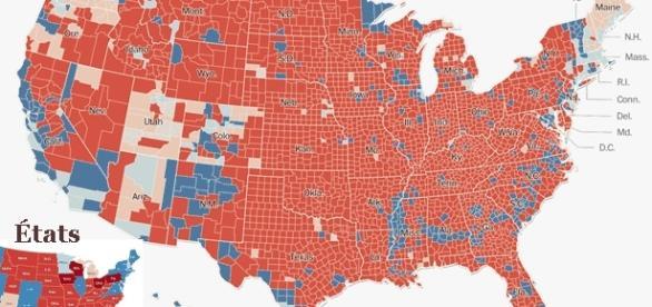 L'Amérique rurale a fortement avantagé Trump ; Clinton sera peut-être déclarée gagnante en nombre de suffrages