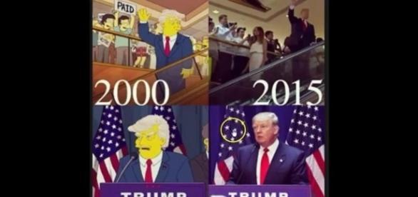 No desenho, Trump apareceu num cenário semelhante ao ocorrido na vida real, 16 anos depois (Banco de Imagens Google)
