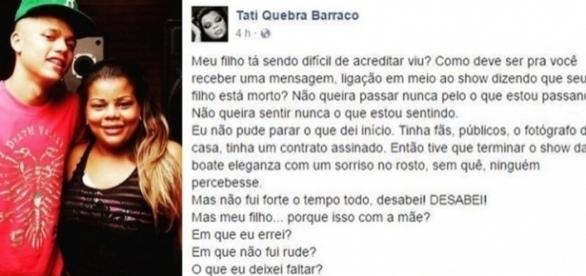 Depois de receber a notícia sobre a morte do seu filho, Tati Quebra Barraco, ainda precisou finalizar um show.