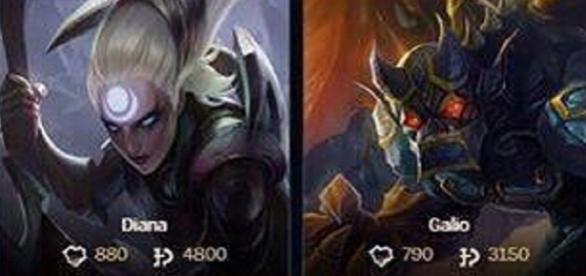 Asi quedaron los precios de Diana 4800Pi y Galio 3150Pi League of Legends