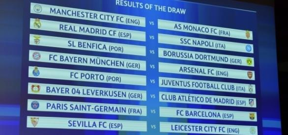 Los emparejamientos de octavos de final de Champions League