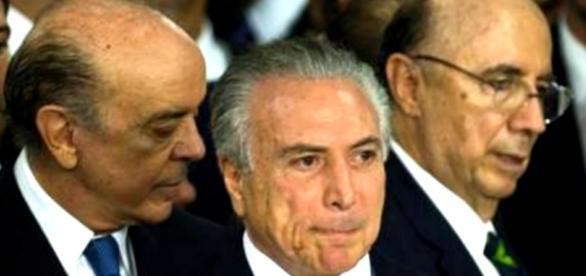 Michel Temer e a cúpula de seu governo fracassado.