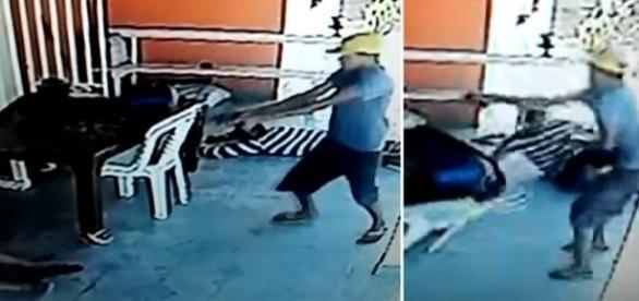 Na imagem é possível ver o momento em que um homem invade a casa do idoso e dispara á queima roupa.
