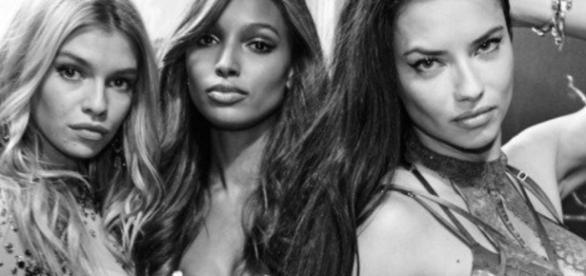 Stella, na esquerda de Jasmine Tookes e Adriana Lima