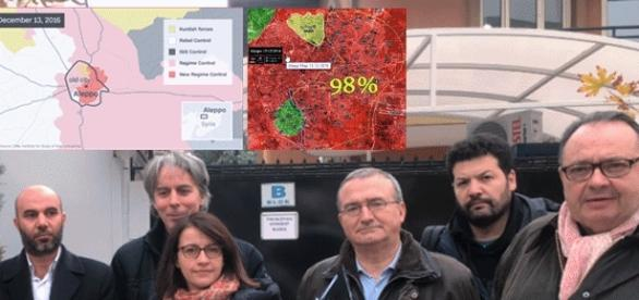 De g. à d., Cécile Duflot, Mariton et Mennucci (et les cartes actualisés d'Alep à la mi-journée du 13 déc. 2016)