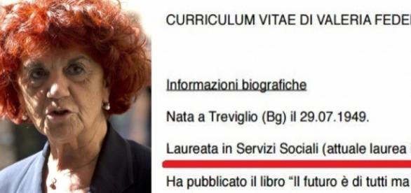 Una immagine del cv di Valeria Fedeli tratta dal suo sito internet