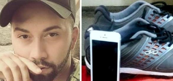 Na primeira imagem foto do homem morto pelo menor, e ao lado os pertences usados pelo acusado no dia do crime.