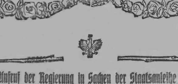 """Der weiße Adler mitten den Rosen; das Symbol für die Vaterlandsliebe der Polendeutschen. """"Neue Lodzer Zeitung"""" 1920"""