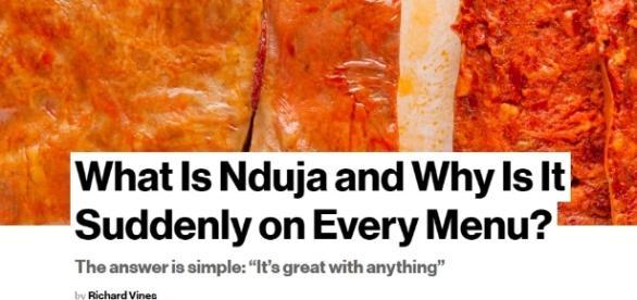 Nduja, Il prodotto tipico calabrese conquista il mondo anglosassone