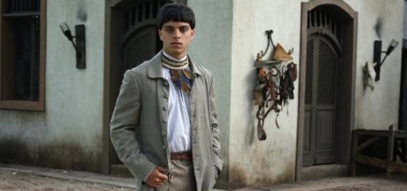 Rodrigo Simas, caracterizado como o índio Piatã (foto Rede Globo/divulgação)