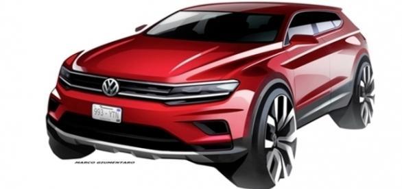 Volkswagen divulgou primeiro esboço do Tiguan Allspace, que terá 11 cm a mais de distância entreeixos