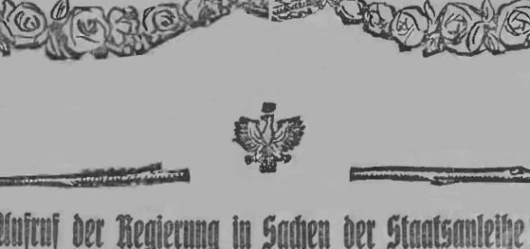 """Biały orzeł wśród róż – symbol miłości ojczyzny polskich Niemców, """"Neue Lodzer Zeitung"""" 1920"""