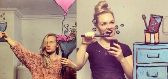 Com apenas muita criatividade, um espelho e um pincel, essa moça fez algo incrível