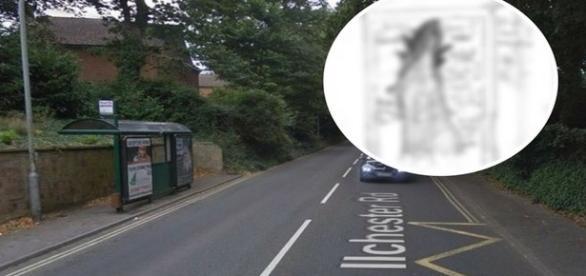 Local onde o 'et' foi visto. No detalhe, desenho do hipotético monstrengo (Somerset)