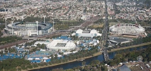 Melbourne Park tennis grounds for the Australian Open (Credit: annieb - wikimedia.org)
