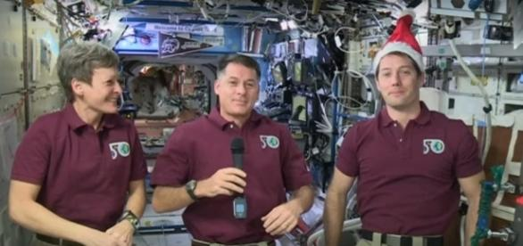 Shane Kimbrough, Peggy Whitson and Thomas Pesquet talk holidays in space/Photo via YouTube