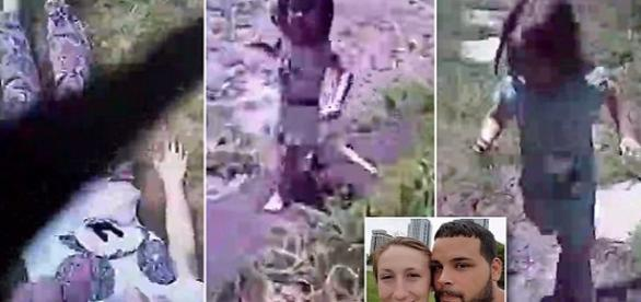 Imagem mostra o agressor junto da ex-mulher e seus 3 filhos sendo salvos (fonte:google imagens)
