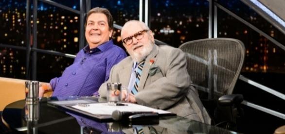 Fausto Silva e Jô Soares em entrevista antológica na última temporada do Programa do Jô (Foto: Rede Globo/ divulgação)