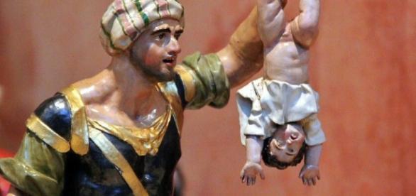 Imagen de un Belén representando el asesinato de niños por orden del rey Herodes