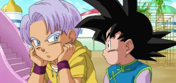 Trunks y Goten preocupados en un fan art de la serie