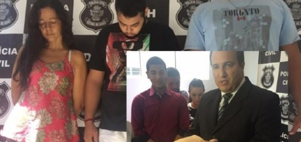 O delegado apresentou os presos e a falsa barriga na sede do GIH.