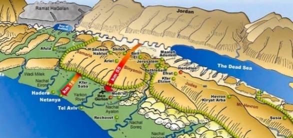 Die Herzkammer Israels ist nur 15 bis 25 km breit. (Illustration: Meir Kahane/ Ofra Field School)