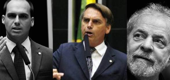 Jair Bolsonaro é comparado com Hitler por Lula e é defendido por seu filho, o deputado federal Eduardo Bolsonaro.
