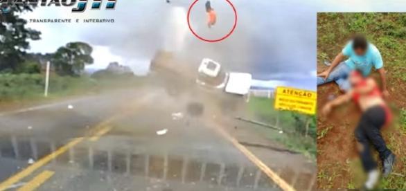 Logo após o passageiro da camionete ser arremessado para o ar, o motorista que nada sofreu correu para socorre-lo.