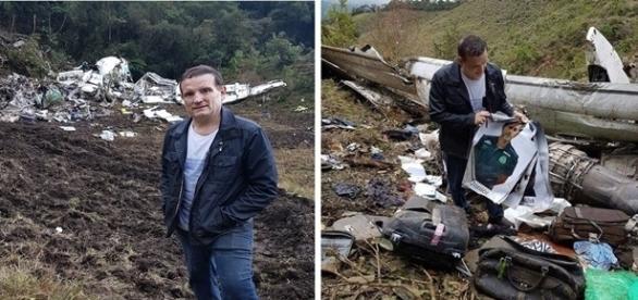 Imagens da chamada do programa 'Conexão Repórter' mostram Cabrini perto dos destroços do avião e pertences das vítimas.