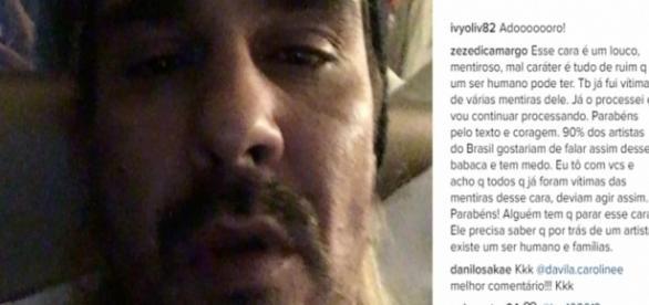 Comentário de Zezé Di Camargo no vídeo de André Gonçalves - Reprodução/Instagram