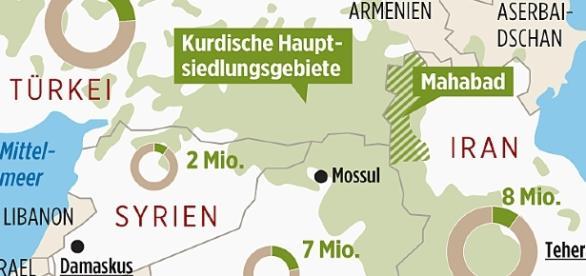 Die Kurden sind ein Volk ohne Staat. (Grafik, URG Suisse: Blasting.News Archiv)