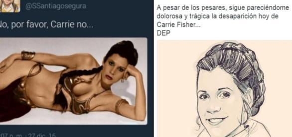 La polémica imagen de Santiago Segura para homenajear a Carrie Fisher, luego borrada, y la que puso después.
