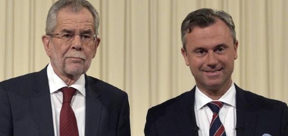 I due candidati alla presidenza dell'Austria, Alexander Van der Bellen e Norbert Hofer