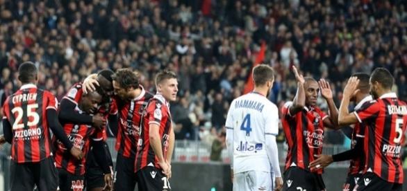 La joie des niçois lors de leur victoire face à Lyon.