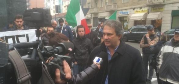 Roberto Fiore Segretario Nazionale di Forza Nuova intervistato a Torino durante la manifestazione