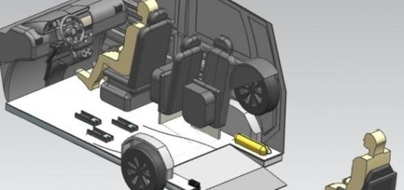 Ilustração demonstra projeto das travas, guias e rampa (Fonte: Projeto Access)
