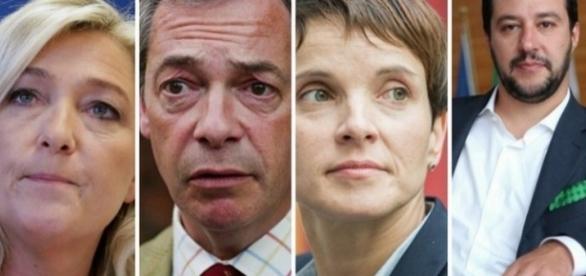 Lideri populiști europeni: Marine Le Pen, Nigel Farage, Frauke Petry și Matteo Salvini