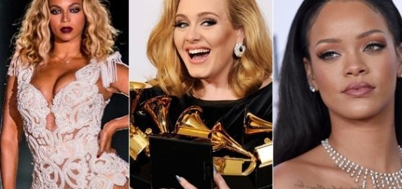 Imagem: Beyoncé, Adele e Rihanna