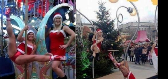 Mulheres sexy vestidas de Mamães Noel
