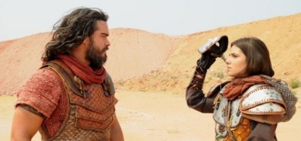 Josué e Aruna em 'A Terra Prometida' (Divulgação/Record)
